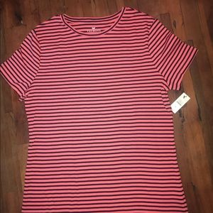 Talbots Striped Black & Pink Short Sleeved Top